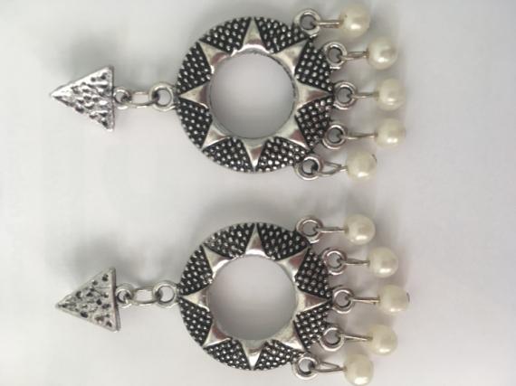 BIJOUX Boucle Soleil Perle Triangle  - Soleil perles