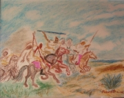 tableau scene de genre fantasia chevaux galop course : FANTASIA