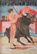 tableau scene de genre toreador manolete corrida taureau : MANOLETE