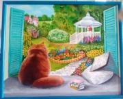 tableau scene de genre jardin nature chat : je t'attends