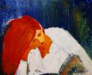 tableau personnages paris france portrait fille : PORTRAIT ISABELLE