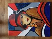 tableau personnages femme chapeau annee 60 rouge : Femme rétro