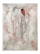 tableau nus reticence nus aqurelle feminin : réticence