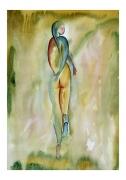 tableau nus aquarelle nu : La fuite