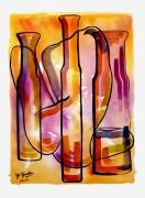 mixte nus nu aquarelle bouteille technique mixte : nu aux trois bouteilles