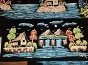 tableau paysages arbre lune montagne cascade : Night paysagiste