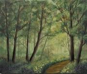 tableau paysages foret bois brume bretagne : Brocéliande