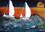 tableau marine voilier soir coucher soleil : retour de pêche