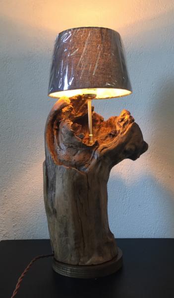 SCULPTURE bois flotté lampe Bois  - lampe en bois flotté