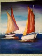 tableau marine bateau mer voyage : Régate