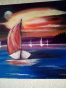 tableau marine bateau mer voyage co : la voile rouge