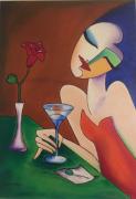 tableau personnages portrait femme moderne contemporain portrait femme moderne : La mondaine