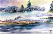 tableau paysages aquarelle drouot originale : 1 brume de neige sous sapins 09