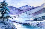 tableau paysages aquarelle piece unique originale qualite : paysage de neige