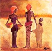 tableau personnages africaines paysages beaute acrylique vernie : africaines 3 2010