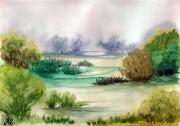 tableau paysages aquarelle : paysage vert 1a 09