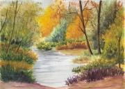 tableau paysages aquarelle originale authentique qualite : petit bois en bord d'eau