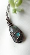 bijoux bijoux pierre fine mineral cuivre : Pendentif Labradorite
