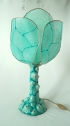 deco design lampe papier mache animale shabby : Lampe Reptile vert d'eau