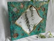 deco design miroir papier mache mineral : Miroir turquoise