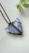 bijoux bijoux romantique mineral cuivre : Pendentif quartz bleu