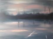 tableau paysages charente fleuve aurore reflets : BRUME DU MATIN