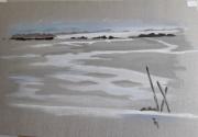 tableau paysages plage mer bahines bois : Marée basse