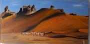 tableau paysages sahara chameau sable caravane : Dune du désert