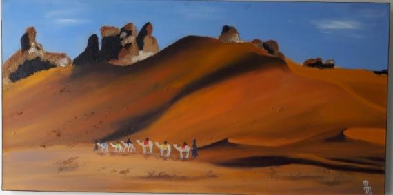 PAINTING Sahara Chameau Sable Caravane Paysages Peinture a l'huile  - Dune du désert