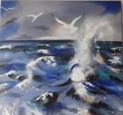 tableau paysages vague mouettes ecume tempete : Mer déchaînée