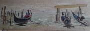 tableau paysages eau barques embarcadere : Vue sur Venise