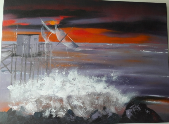 TABLEAU PEINTURE Coucher de soleil Mer Écume Vague Paysages Peinture a l'huile  - Carrelet  au soleil couchant