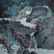 tableau paysages temple montagne cerisier en fleur chemin de montagne : Temple et cerisier en fleur