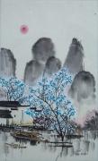 tableau paysages montagne guilin arbre bleu barque : Sampan à l'arbre bleu