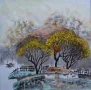 tableau paysages soleil couchant barque maison bucolique : Sous le soleil couchant