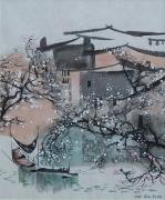 tableau paysages village chinois suzhou barque arbres enneiges : Matin de printemps