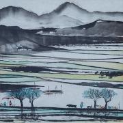 tableau paysages riziere montagnes personnages piquenique : Rizière bleue