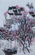 tableau paysages barques arbres en fleurs village chinois eau : Blotti dans les arbres