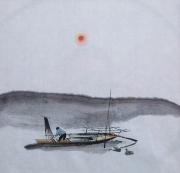 tableau paysages pecheur chine barque vague : Pêcheur sous la vague