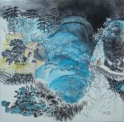 tableau paysages temple montagne chine arbres en fleur : Coulée bleue