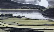 tableau paysages riziere encre de chine bateaux nuages : Rizière jaune