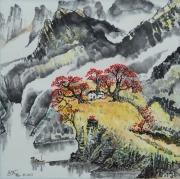 tableau paysages montagne chine maisons arbre rouge : Minéral et végétal