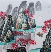 tableau paysages montagnes chine bateaux arbres rouges : Reflets
