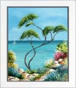 tableau marine paysage de provence marine en provence mer fleurs rochers peintre de provence : Temps calme