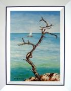 tableau marine tableaux de provence paysage de provence bord de mer marine peintres de provence : L'arbre mort