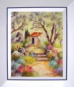 tableau paysages tableaux de provence jardin fleurs caba paysage de provence peintres de provence : Au fond du jardin