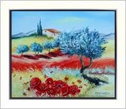 tableau paysages tableaux de provence coquelicots olivier paysage de provence peintres de provence : Clarté estivale