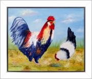tableau paysages tableau de provence paysage campagne poule coq poussins peintre de provence : En famille