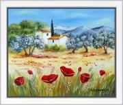 tableau paysages tableau de provence paysage de provence oliviers coquelicot peintre de provence : Chaude journée