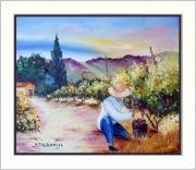 tableau paysages tableauxdeprovence paysagedeprovence vignescampagnevend peintredeprovence : La cueillette du raisin
